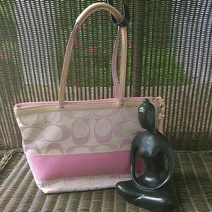 Coach Signature Pink Stripe Tote /Purse F13548